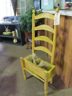 Vendor 210, Ladderback Chair Planter --- $64    ... ROCKIN B ANTIQUES ... Newnan, GA    ... Questions??? Call >>> (770) 253-8730