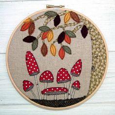 autumn toadstools woodland scene textile art work by thelemonpony, £24.00