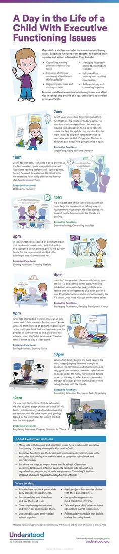 Some kids have a really tough time getting organized and starting tasks. Planning, focusing and using working memory can be big challenges too. Use this visual guide to see how executive functioning issues can affect a child�s daily life.