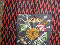 Vintage NOVELTY HANDKERCHIEF, UMBRELLAS with Or/Blk Border, Signed Tammis Keefe
