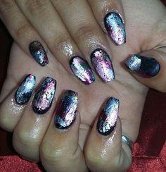 Nails black coffin nails foil nailart naildesigns