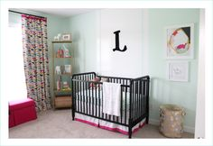 Project Nursery - Black Jenny Lind Crib in this Eclectic Nursery