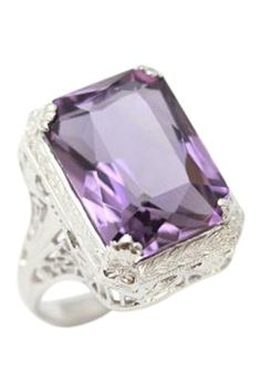 14K White Gold Amethyst Rectangle Ring by Gatsby Glam: Estate Jewelry on @HauteLook
