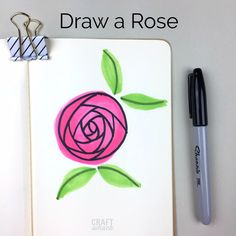 Draw This With Me: Some Lovely Little Rose Doodles Cute Flower Drawing, Rose Drawing Simple, Drawing Flowers, Marker Kunst, Marker Art, Doodle Drawings, Easy Drawings, Horse Drawings, Rose Doodle
