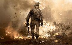 Dit beeld is van de videogame Call of Duty. Deze serie is bekend om zijn geweld en strijd, maar hoe laten ze dit nog meer zien doormiddel van statische plaatjes?  In deze afbeelding kun je de strijd zien doormiddel van de explosie achter de soldaat. Je kunt deze explosie zien omdat daar meer roodtinten en oranje tinten in zijn verwerkt. Verder zijn er vooral tertaire kleuren gebruikt, deze geven een verwoste sfeer aan. Niet te missen is het symbool van strijd in het midden gezet, de soldaat.