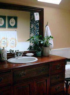 Bathroom Sink Consoles Made from Vintage Dressers: Photos & Ideas Bathroom Mixer Taps, Bathroom Bin, Bathroom Sets, Bathroom Furniture, Gold Bathroom, Bathroom Stuff, Small Bathroom, Bronze Bathroom Accessories, Orange Bathrooms