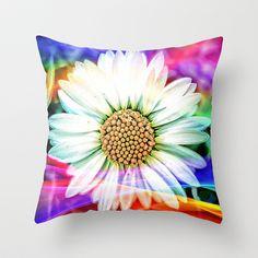 Rainbow Daisy Throw Pillow by  Alexia Miles photography - $20.00