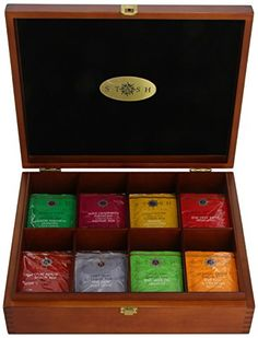 Stash Tea 8 Flavor Variety Pack Gift Set, 80 Count Tea Bags in Foil with Tea Chest - Cool Kitchen Gifts