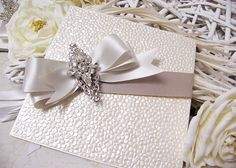 Luxury wedding crystal invitations, unique handmade with pebble shimmer, ivory and champagne satin ribbon, Couture wedding, deluxe wedding invitations, bespoke wedding