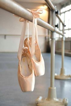 pointe shoes all tied up.... I can't wait for mine to be dead so I can show off their beauty by hanging them up.