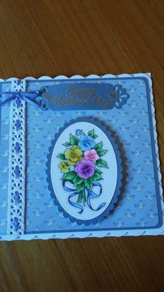 Blue themed Mother's day card, again coloured in with Spectrum Noir pens.