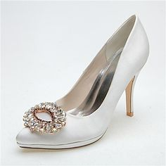 Women's Shoes Pointed Toe Stiletto Heel Satin Pumps with Buckle Rhinestone Wedding Shoes More Colors available – AUD $ 64.34
