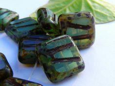 OASIS  carved czech glass bead  10mm  15 each   by BeadKnead, $3.55