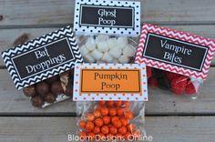 Halloween gumball treats (Pumpkin Poop, Ghost Poop. Vampire Bites, Ghoulish Gumballs)