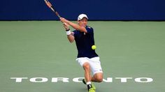 Kei Nishikori holds off Grigor Dimitrov on Friday at the Rogers Cup. Getty Images