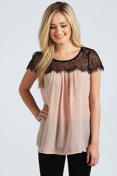 Lydia Lace Trim Chiffon Blouse at boohoo.com Love this top, Will go awesome with jeans. Thinking the black would be good.