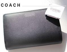 New COACH Darcy Black Leather Medium Wallet - Silver Logo - $84.99