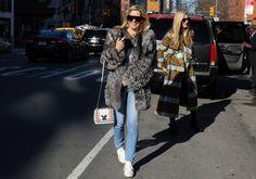 Joanna Hillman (right); Louis Vuitton purse and Dax Gabler sunglasses (left)