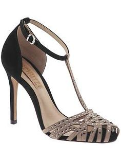 """Schutz Demi Sandal  $195  T-strap sandal  Stones on closed toe  3 1/4"""" heel  Leather lining  Leather outsole  Buckle on ankle strap  Upper: leather and rhinestones"""