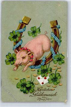 Schwein Hufeisen, Neujahr: Ansichtskarten-Center Onlineshop