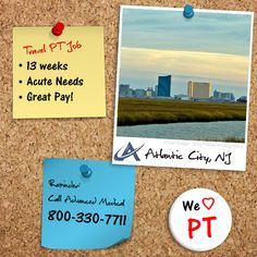 Take a chance on this exciting travel physical therapy jobs in Atlantic City, New Jersey. This 13 week travel PT assignment is at an acute needs facility. Contact Advanced Medical, a travel physical therapy staffing company, at 800-330-7711 or visit http://www.advanced-medical.net