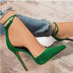 sexy pumps stiletto pointed toe party ankle strappy high heels – ShopFashionova How should the right shoe choice be? What should be considered for foot hea Dr Shoes, Crazy Shoes, Me Too Shoes, Cute Shoes Heels, Casual Shoes, Strappy High Heels, Stiletto Heels, Heeled Sandals, Green High Heels