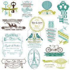 Wedding Vintage Invitation Collection - for design, scrapbook  免版税图片 - 15356349