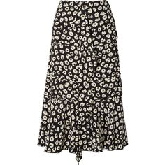 Proenza Schouler Ruffled floral-print silk crepe de chine midi skirt ($950) ❤ liked on Polyvore featuring skirts, black, frill skirt, floral midi skirts, calf length skirts, ruffle skirt and print skirt