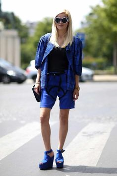 Coordinated in menswear inspired shorts and a matching jacket. Paris #PMFW