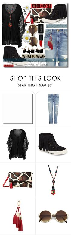 """""""Plus Size Outfit for Outdoor Concert"""" by wuteringheights ❤ liked on Polyvore featuring Current/Elliott, Converse, Dooney & Bourke, Smashbox and plus"""