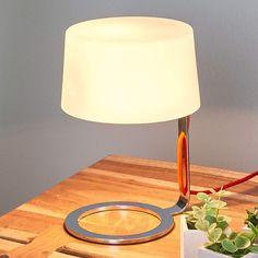 Tischleuchte Glas Oval Tischlampe Dekorativ 18 cm Weiß Dezent Design