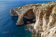 Blue Grotto limestone arc majestic nature landmark of Malta island by fotoman #ErnstStrasser #Malta Malta Island, Explore, Water, Blue, Travel, Outdoor, Gripe Water, Outdoors, Viajes