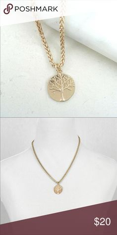 Gold Color Tree Medallion Necklace Length: 18 in. 3 in. Ball Extension  Decor diameter 1 in. Jewelry Necklaces