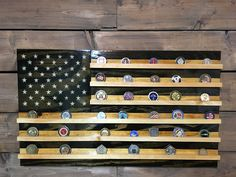 Challenge Coin Holder Tactical: All handmade wooden American Flag. With individually cut pieces nailed to a sturdy frame, stained, and fixed with Challenge Coin Shelves. Then finished with 3 or more coats of high gloss poly for protection and shine that will last a lifetime. A creative way to display all your recognition for hard work!