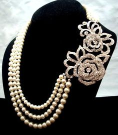 Bridal statement necklace bridal pearl necklace by treasures570, $129.00. I don't really like pearls but I would wear this.