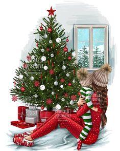 Ideas children illustration christmas kids for 2019 Christmas Tumblr, Noel Christmas, Christmas Pictures, Winter Christmas, Xmas Holidays, Illustration Noel, Christmas Illustration, Silvester Trip, Mother Daughter Art
