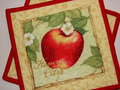 Pair of Hot Pad Pot Holders Red and Green Apples by susiquilts