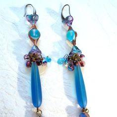 Boucles d'oreilles en seaglass(verre) bleue lagon, bleue turquoise