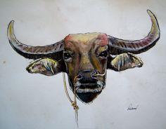 Carabao Watercolor Filipino Water Buffalo 11 by PascualProductions, $15.00
