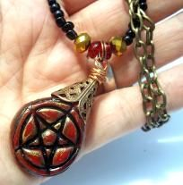 Briar Rose Clay Pentacle Necklace Handmade in Red Wicca