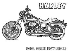 Harley Davidson FXDL Glide Low Rider Motorcycle Coloring Page