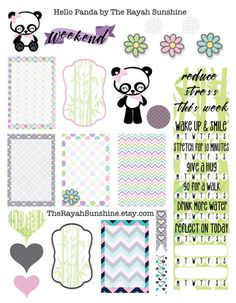 Hello Panda Happy Planner Stickers by The Rayah Sunshine