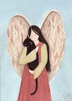 Black cat cradled by angel / Lynch signed folk art print in Art, Art from Dealers & Resellers, Prints | eBay