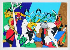 M F Husain - Krishna Leela - Image size: 26.5 x 36 in (67.3 x 91.4 cm) Paper size: 28 x 40 in (71.1 x 101.6 cm) This item will be sold unframed <b>Please note: Edition details may vary as this print is part of a collection printed exclusively for the Doha, Dubai and Qatar markets.</b>