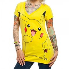 b90c9d386 Bioworld Pokemon Pikachu Juniors Yellow V-Neck T-Shirt-small – Pokemon  Tshirt & Dress for Women