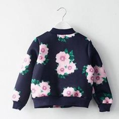 Flower Power Jacket - $30 | Floral scuba bomber, kids bomber jacket, girls floral pullover, trendy kids clothes, stylish kids fashion,
