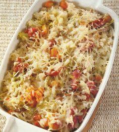 Empadão de Arroz e Salsichas - https://www.receitassimples.pt/empadao-de-arroz-e-salsichas/