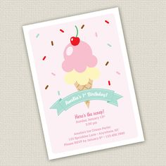 Printable Ice Cream Birthday Invitation by SweetNSnappyDesigns, $15.00