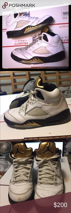 Nike Air Jordan 5 Retro Olympic White Black Gold A few scuffs but official and the real deal! Nike Shoes Sneakers