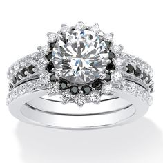 Palm Beach Jewelry PalmBeach Platinum over Sterling Silver 3 1/8ct Cubic Zirconia Vintage-Style Halo Jacket Bridal Ring Set Classic CZ